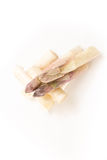 Cut white asparagus spears, on white. Background Stock Images