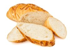 Cut white bread loaf Stock Image