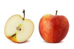 The cut and whole apple Stock Photo