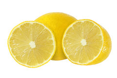 Cut and whole lemon fruits isolated on white background Royalty Free Stock Photo