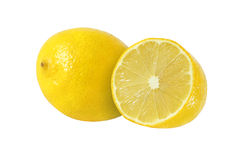 Cut and whole lemon fruits  on white. Background Stock Photography