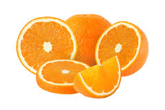 Cut and whole orange fruits isolated with clipping path Stock Photos