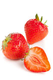 Cut and whole ripe strawberries Stock Image