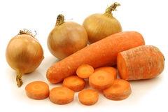 Free Cut Winter Carrots And Some Fresh Onions Stock Photography - 22379402