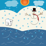 A cut of winter. Designed to appear as cut outs of a snowman and a polar bear in an arctic type scenario complete with snowflakes Royalty Free Stock Image