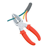 Cut wire cutters. Pliers repair tool. Electrician instruments. Support service vector illustration isolated on white Royalty Free Stock Image