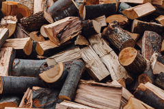 Cut wood in a pile Stock Image