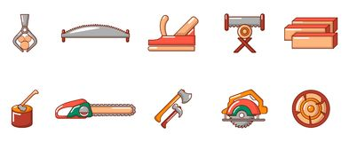 Cut wood tool icon set, cartoon style. Cut wood tool icon set. Cartoon set of cut wood tool vector icons for web design isolated on white background Royalty Free Stock Photo