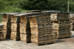 Cut woods new 1. Overview of sawmill cut woods Royalty Free Stock Photos