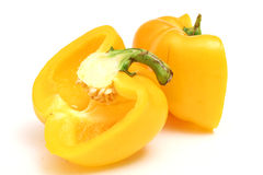 Cut yellow bell pepper level Royalty Free Stock Photos