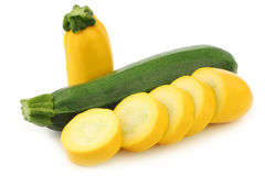 Cut yellow and a green zucchini Royalty Free Stock Image