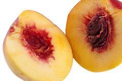 Cut yellow red-ripe peach Stock Photography