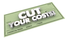 Cut Your Costs Bills Check Words. 3d Illustration Stock Image