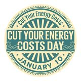Cut Your Energy Costs Day. January 10, rubber stamp, vector Illustration stock illustration
