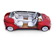 Cutaway autonomous car`s interior. Front seats turned around and passengers can relaxing or working when they driving.  3D rendering image Stock Photos