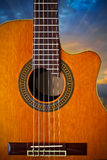 Cutaway Classical Acoustic Guitar. A cut away classical guitar shot in the morning Stock Image