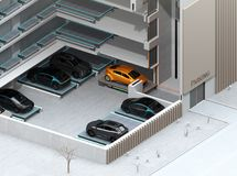 Cutaway concept image for automatic car parking system by AGV. Automated  Guided Vehicle. 3D rendering image Stock Image