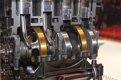 Cutaway of crank and pistons in engine. Cutaway of crank and pistons in  high performance racing engine Royalty Free Stock Photo