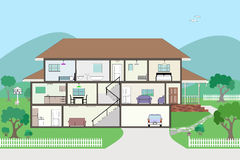 Cutaway Cross Section House - grouped and layered vector illustration