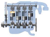 Cutaway do motor ilustração do vetor