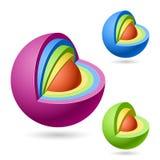 Cutaway sphere. Three cutaway spheres vector illustration Stock Images