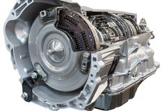 Cutaway transmission of the truck. Cutaway transmission: clutch and gearbox of the truck showing inside Stock Photos