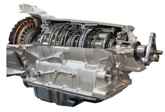 Cutaway transmission of the truck. Cutaway transmission: clutch and gearbox of the truck showing ine Royalty Free Stock Image
