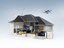 Cutaway view of smart house interior Stock Photography