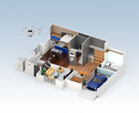 Cutaway view of smart house interior. This house supply with home battery system, energy saving appliance, and electric car Royalty Free Stock Images