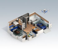 Cutaway view of smart house interior Royalty Free Stock Image
