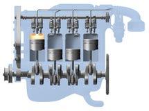 cutawaymotor Arkivbild