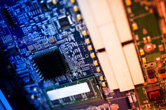 Cutcuit electronic on motherboard Stock Photos