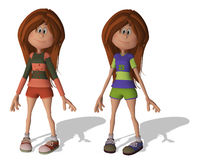 Cute 3D Cartoon Girls Royalty Free Stock Images