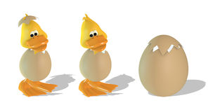 Cute 3D duck and egg Royalty Free Stock Photography