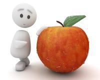 Cute 3d guy advises an apple. (series Royalty Free Stock Photos
