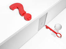 A cute 3D guy attains a solution. Just one more small step to take - other words available royalty free illustration