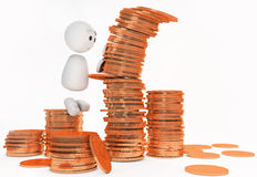 A cute 3d guy bowls a stack of coins Stock Image