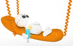 Cute 3d guy having a break. (series Stock Image