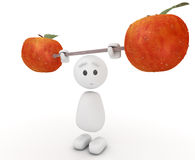 Cute 3d guy lifting an apple Royalty Free Stock Images