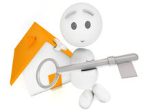 Cute 3d guy offers you the key. To a house (series Royalty Free Stock Photography