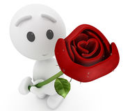 Cute 3d guy offers you a rose Stock Photo