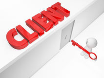 A cute 3D guy reaches a client (Happy man series). Other words available Royalty Free Stock Photo
