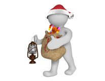 Cute 3d man with Christmas gifts and lantern Stock Photo