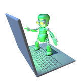 Cute 3d robot character standing on a laptop Stock Image