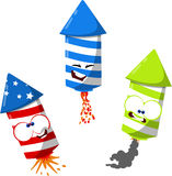 Cute 4th of july fireworks. Funny cartoon fireworks ready to celebrate Royalty Free Stock Image