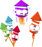 Cute 4th of july fireworks. Funny cartoon fireworks ready to celebrate Royalty Free Stock Photos