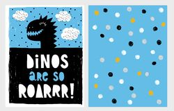 Cute Abstract Black Dinosaur Theme Vector Illustration Set. Black Dino`s Head on a Blue Background. White Clouds with Black Dots. Hand Drawn Design. Hand royalty free illustration