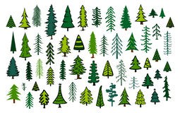 Cute abstract conifer evergreen pine fir christmas needle trees. Collection Royalty Free Stock Images