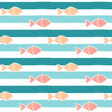 Cute abstract fishes on blue stripes background seamless pattern illustration Royalty Free Stock Images