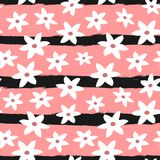 Cute abstract flowers on striped background. Girly floral seamless pattern. Vector illustration stock illustration